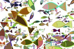 Abstract illustrations of fish, conceptual pattern. Decoration, shape, messy & background. Abstract illustrations of fish, conceptual pattern. Good for design Royalty Free Stock Images