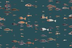 Abstract illustrations of fish, conceptual pattern. Digital, hand-drawn, wallpaper & line. Abstract illustrations of fish, conceptual pattern. Good for design Stock Photos