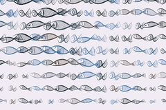 Abstract illustrations of fish, conceptual pattern. Drawing, color, hand-drawn & effect. Abstract illustrations of fish, conceptual pattern. Good for design Stock Images
