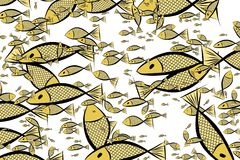 Abstract illustrations of fish, conceptual pattern. Graphic, style, cover & cartoon. Abstract illustrations of fish, conceptual pattern. Good for design Stock Photos