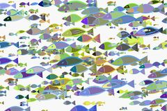 Abstract illustrations of fish, conceptual pattern. Hand-drawn, wild, template & design. Abstract illustrations of fish, conceptual pattern. Good for design Stock Photo