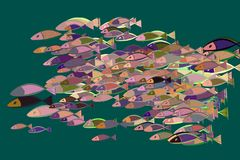 Abstract illustrations of fish, conceptual pattern. Shape, template, hand-drawn & sketch. Abstract illustrations of fish, conceptual pattern. Good for design Stock Photography