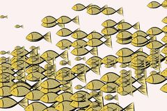 Abstract illustrations of fish, conceptual pattern. Water, art, wallpaper & creative. Abstract illustrations of fish, conceptual pattern. Good for design Stock Image