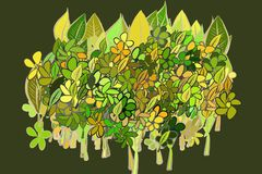 Abstract illustrations of leaves & flowers, conceptual pattern. Canvas, details, green & vector. Abstract illustrations of leaves & flowers, conceptual pattern stock illustration
