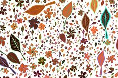 Abstract illustrations of leaves & flowers, conceptual pattern. Color, cover, graphic & template. Abstract illustrations of leaves & flowers, conceptual pattern royalty free illustration