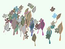 Abstract illustrations of leaves & flowers, conceptual pattern. Drawing, repeat, backdrop & details. Abstract illustrations of leaves & flowers, conceptual vector illustration