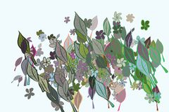 Abstract illustrations of leaves & flowers, conceptual pattern. Drawing, texture, color & hand-drawn. Abstract illustrations of leaves & flowers, conceptual stock illustration