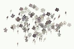 Abstract illustrations of leaves & flowers, conceptual pattern. Hand-drawn, art, wallpaper & template. Abstract illustrations of leaves & flowers, conceptual royalty free illustration