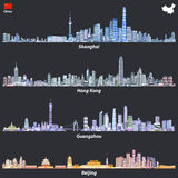 Abstract illustrations of Shanghai, Hong Kong, Guangzhou and Beijing skylines at night with map and flag of China. Abstract vector illustrations of Shanghai royalty free illustration