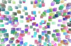 Abstract illustrations of shape, conceptual background. Pattern, messy, white, surface & color. Random colored abstract overlapping cubes or boxes, digital Stock Photography