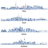 Abstract illustrations of Tokyo, Seoul, Sydney and Auckland skylines in tints of blue. Royalty Free Stock Image