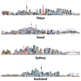 Abstract illustrations of Tokyo, Seoul, Sydney and Auckland skylines. Stock Images