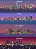 Abstract illustrations of United States urban city skylines at night Royalty Free Stock Photos