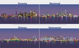 Abstract illustrations of urban canadian city skylines at night Royalty Free Stock Image