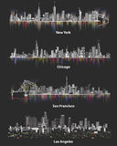 Abstract illustrations of urban United States of America city skylines at night on soft dark background Royalty Free Stock Photo