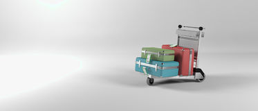 Abstract image of an airport luggage trolley. An image of a baggage on an airport trolley vector illustration