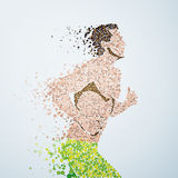 Abstract image of a Athlete running man from the. Circles particles isolated on background, art illustration template design, business infographic and social royalty free illustration
