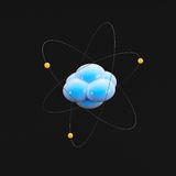 Abstract image of atom on dark background Royalty Free Stock Image