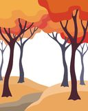 Autumn trees background. Abstract image of the autumn trees. Beautiful landscape. Vector background for design presentations, brochures, web sites and banners Stock Photo