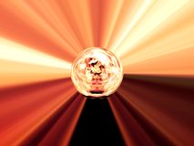 Abstract image of a ball in space with multicolored rays Royalty Free Stock Photo