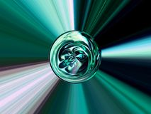 Abstract image of a ball in space with multicolored rays Stock Image