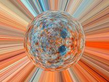 Abstract image of a ball in space with multicolored rays Stock Images