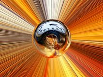 Abstract image of a ball in space with multicolored rays. 3d rendering. Abstract image of a ball in space with multicolored rays Royalty Free Stock Photography