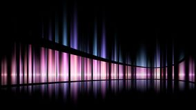 Abstract image of blurred blue. white and pink and yellow lights on a black background with sharp lines. Music and aurora light sound - aurora light royalty free illustration