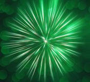 Abstract image, blurred green fireworks Royalty Free Stock Photography