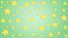 Golden Stars in Green Background. Abstract image of bright golden stars in green background for backdrop, banner, template or poster stock images