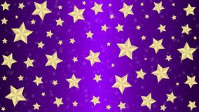 Golden Stars in Purple Background. Abstract image of bright golden stars in purple background for backdrop, banner, template or poster stock image