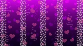 Abstract Bright Lights, Hearts and Ribbons in Gradated Purple Background royalty free illustration