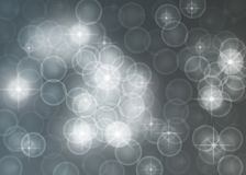 Abstract Bright Stars, Lights, Sparkles and Bubbles in Gray Background royalty free illustration