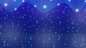 Abstract Bright Stars, Lights, Sparkles, Confetti and Ribbons in Blue Background royalty free illustration