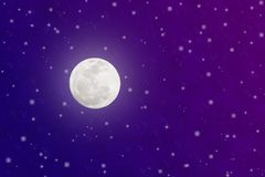 Bright Full Moon and Twinkle Stars in Blue and Purple Night Sky stock illustration