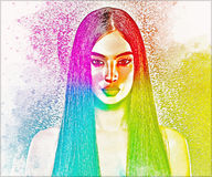 Abstract image of brunette woman with long straight hair. stock illustration