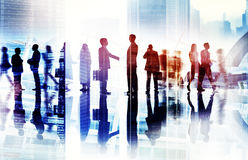 Abstract Image of Business Handshake in a Cityscape royalty free stock photography