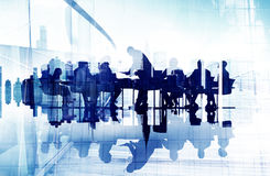 Abstract Image of Business People's Silhouettes in a Meeting Stock Photos
