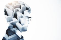 Challenge and problem concept. Abstract image of businessman with maze. Challenge and problem concept. Double exposure Royalty Free Stock Photography