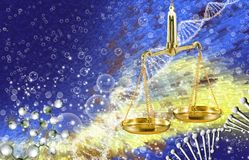 Image of the chain of DNA and libra on multicolored background. Abstract image of the chain of DNA and libra on multicolored background Stock Photos