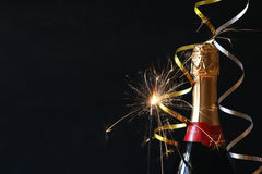 Abstract image of champagne bottle and festive lights Stock Photo