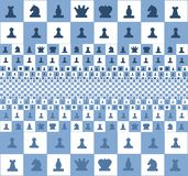 Abstract image of a chessboard with pieces, blue color royalty free illustration