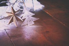 Abstract image of Christmas tree garland lights Royalty Free Stock Photos