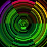 Abstract image with circles. Abstract background and image with circles in green, yellow, violet and green hues on dark surface. Gradual colors distributed along Vector Illustration