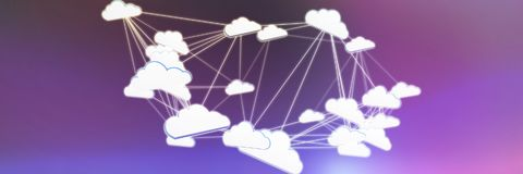 Composite image of abstract image of cloud computing symbol. Abstract image of cloud computing symbol against pink and purple background royalty free stock photos