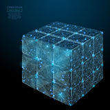 Collected Puzzle cube low poly blue Royalty Free Stock Image