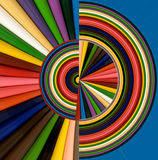 Abstract image of colorful pencils. Illustration of colorful pencils on a blue background Stock Images