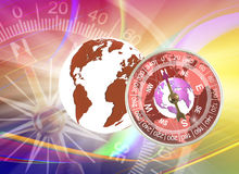 Abstract image of compass and planet close up Royalty Free Stock Image