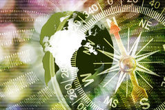 Abstract image of compass and planet close up Stock Images