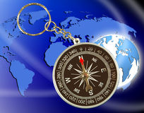 Abstract image of compass and planet close up Royalty Free Stock Photos